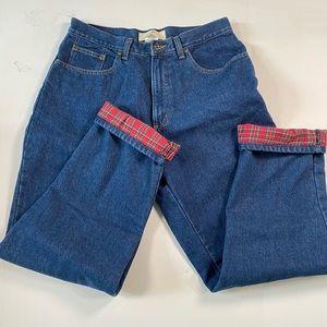 LL Bean Women's Double L Flannel Lined Jeans Sz 12